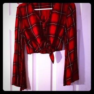NWOT S black and red plaid wild fable bell sleeve